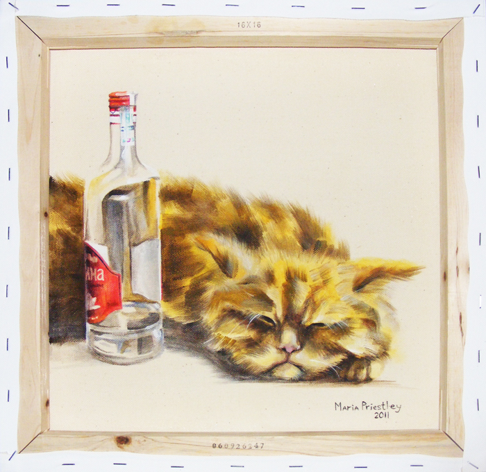 surreal painting cat vodka
