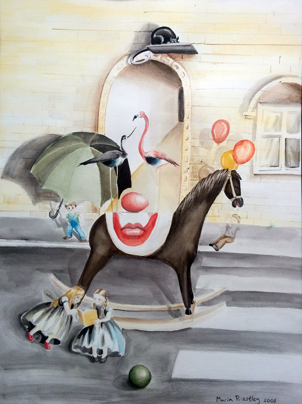 surreal painting clown horse balloons