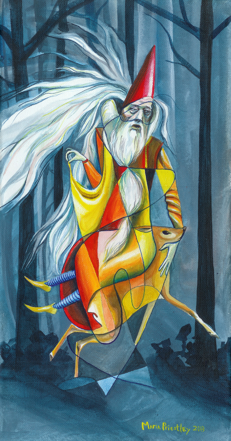 surreal painting dumbledore bambi forest