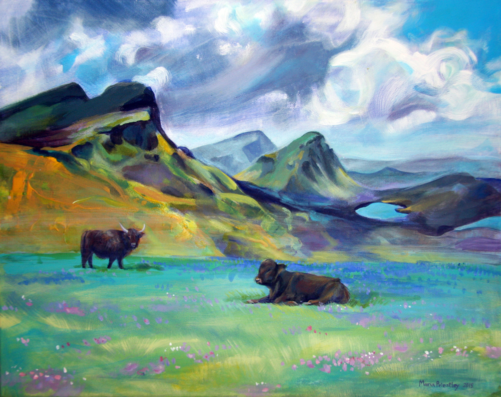 surreal painting cows mountains field
