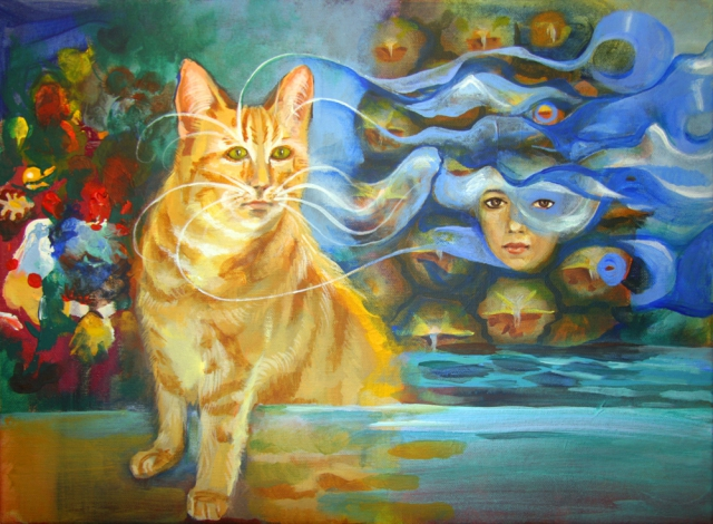surreal painting cat pineapple