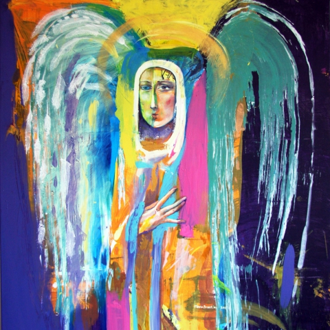 surreal painting angel saint woman