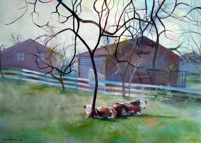 surreal painting cows trees village