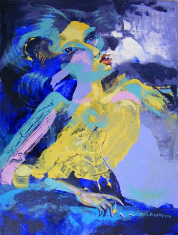 abstract painting woman smoking