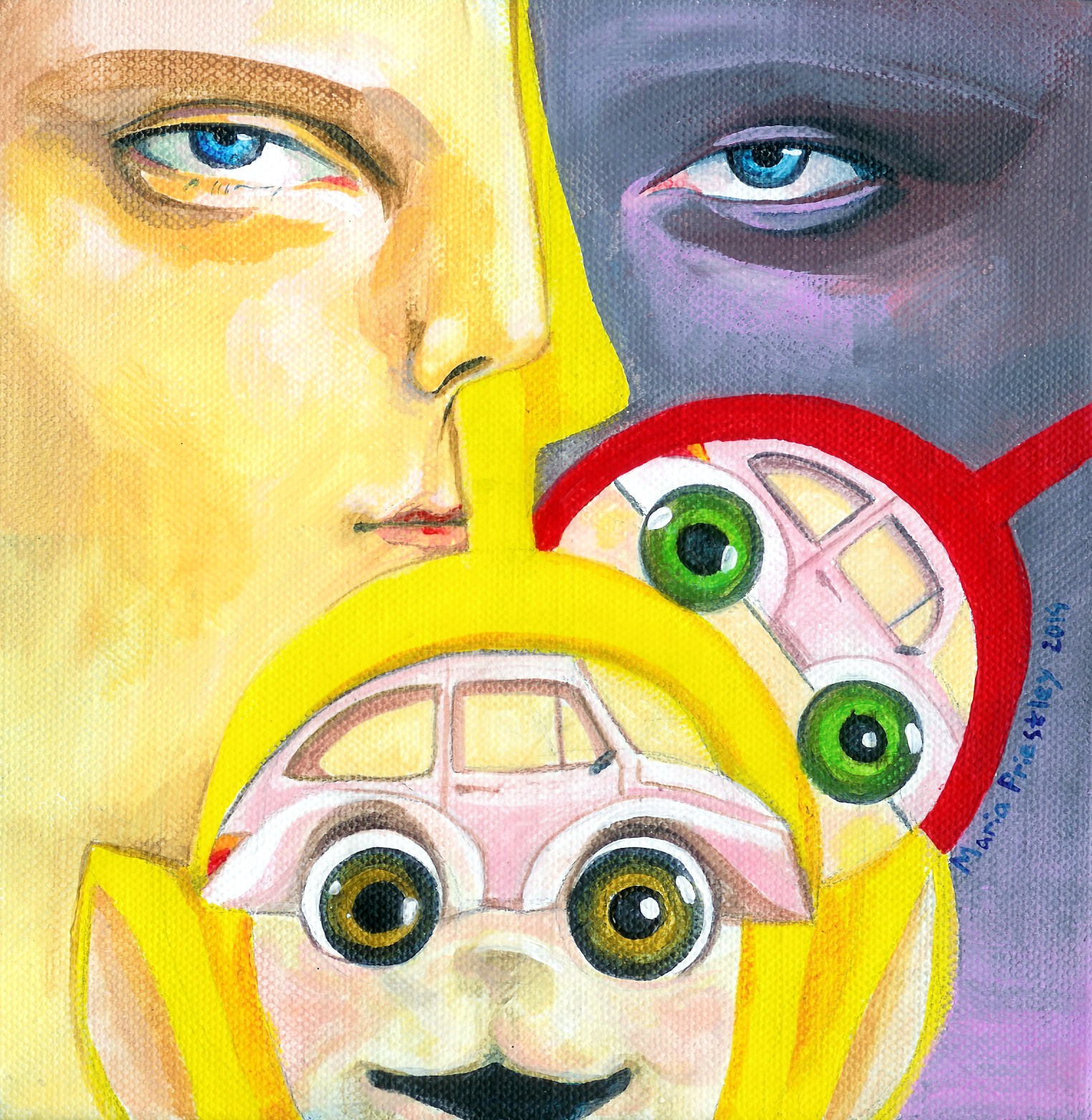 surreal painting teletubbies eyes faces cars