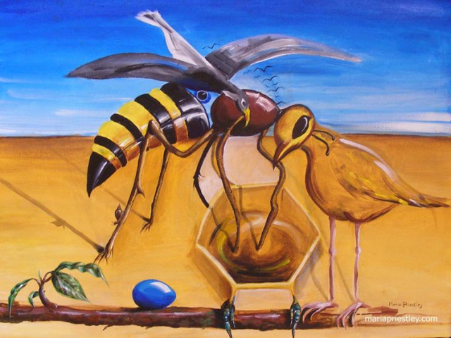 surreal painting wasp toucan chick egg