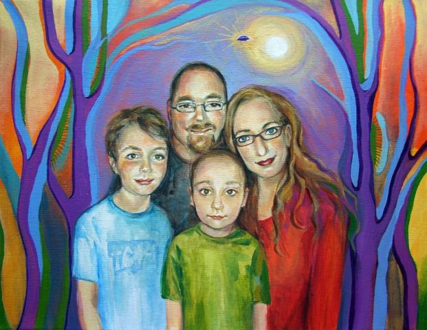 portrait painting family UFO