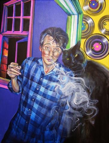 portrait painting cat man