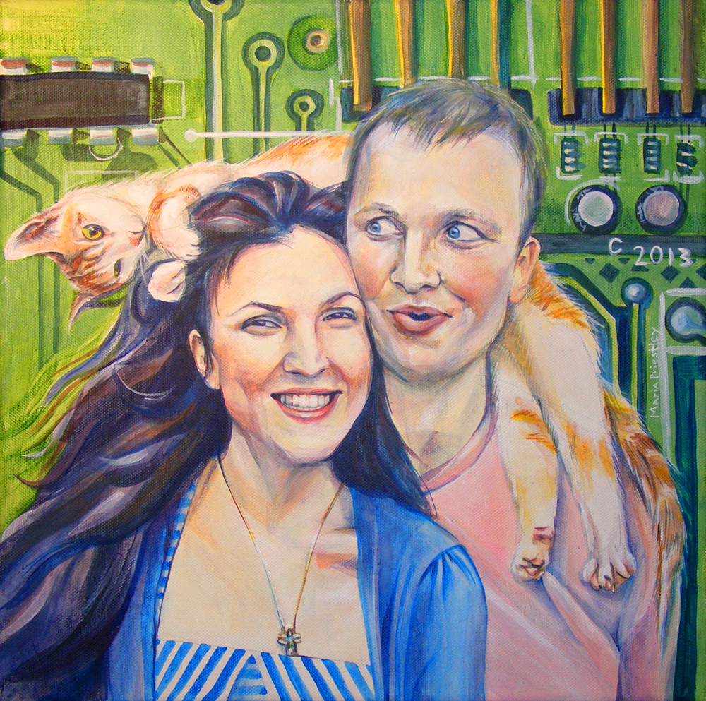 portrait painting couple cat