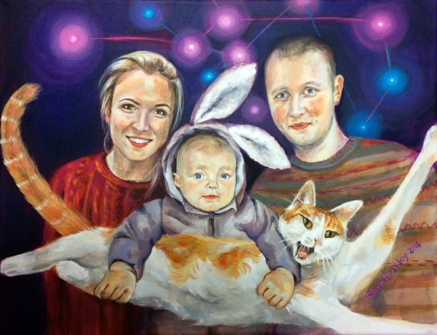 portrait painting family cat baby