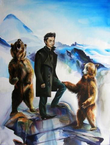 portrait painting man bears