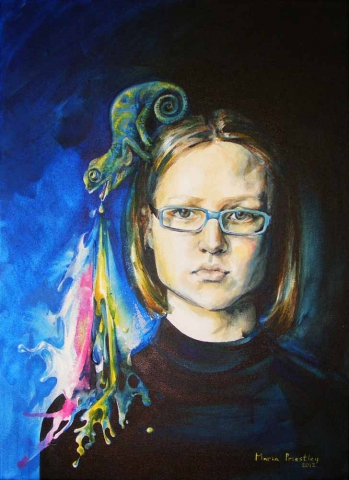 portrait painting chameleon