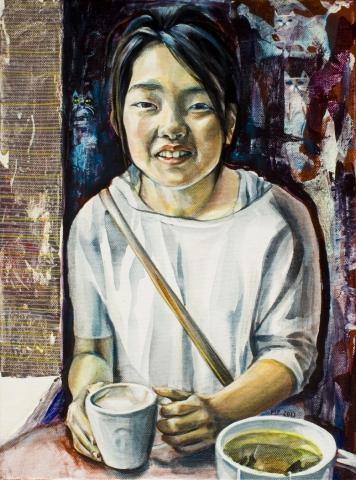 portrait painting girl coffee tea