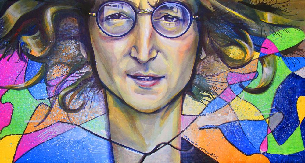 john lennon portrait painting bright original