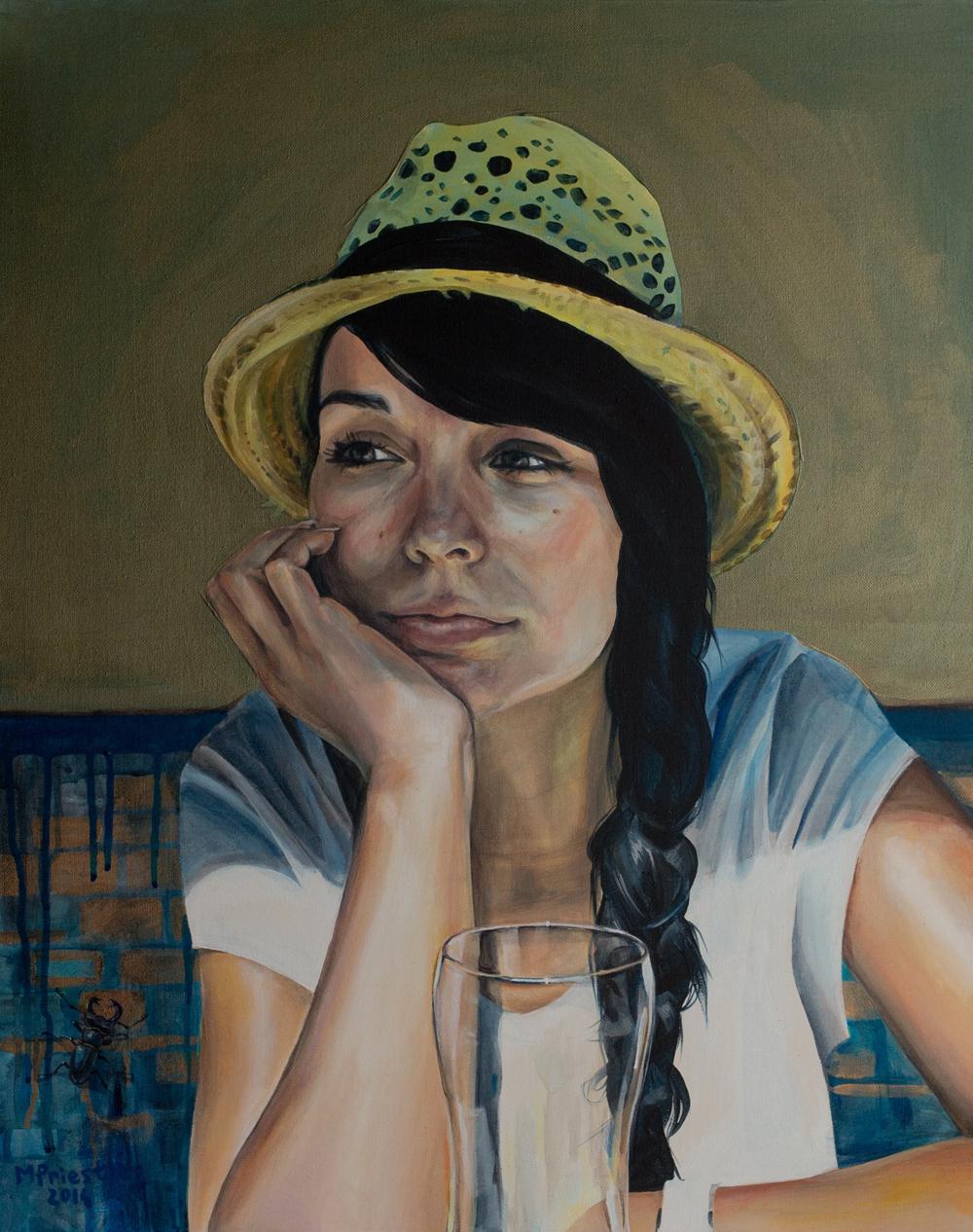portrait painting woman hat