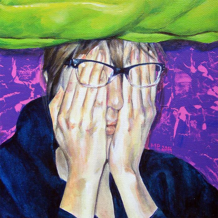 portrait painting hands glasses