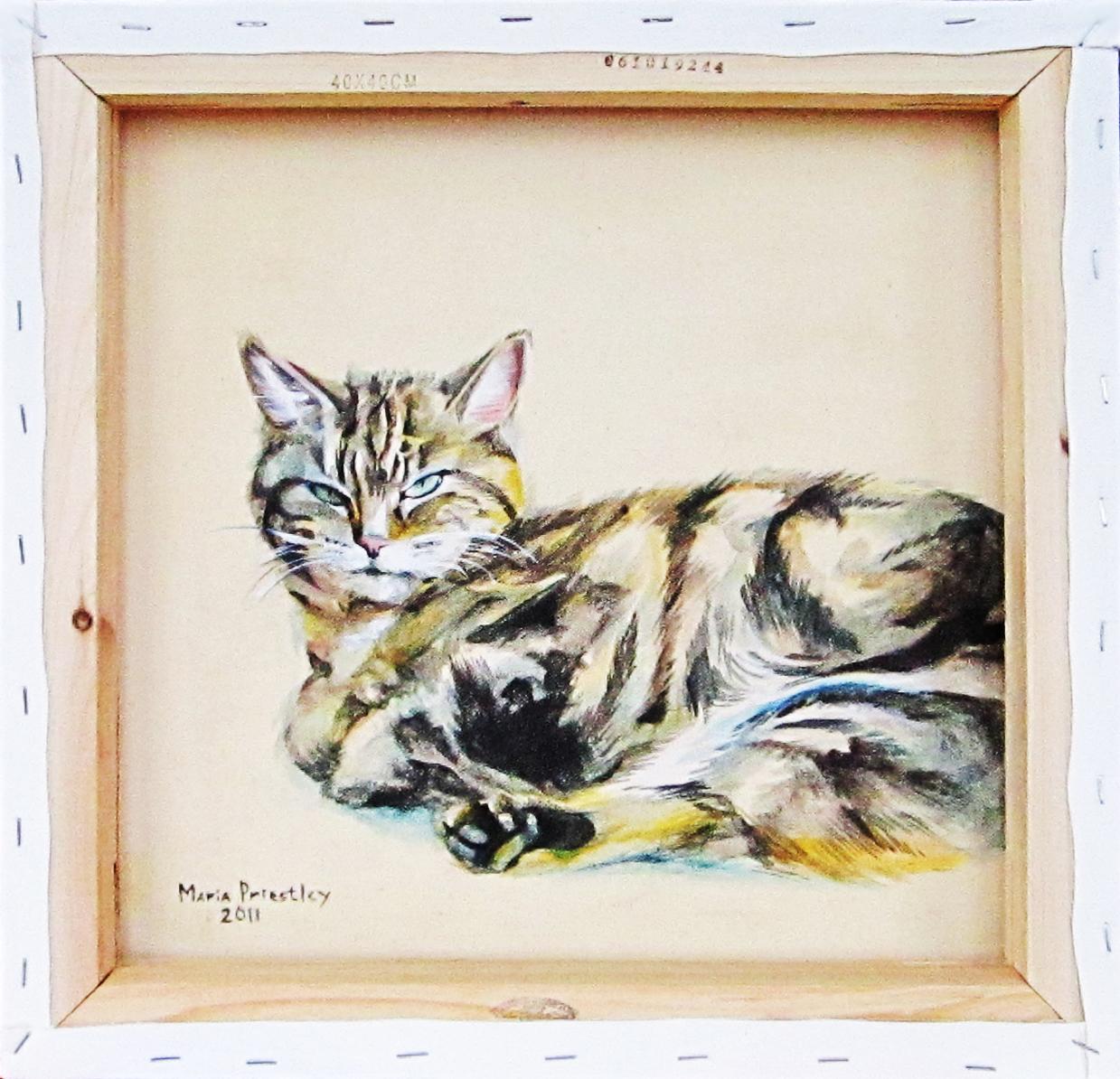 portrait painting cat pet
